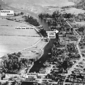 1931 Courtenay River Airphoto showing Future Site of Fields Saw Mill