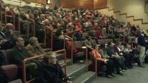 Audience at the November 3 Community Forum in the Stan Hagen Theater of North Island college (Photo credit: Pieter Vorster).