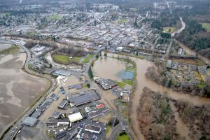 An aerial view of the last major flood in Courtenay— image credit: Comox Valley Echo File photo