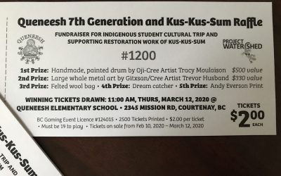 Tickets for the Queneesh 7th Generation Indigenous Education Club Raffle